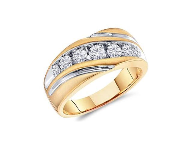 Men Diamond Wedding Ring 10k White Yellow Gold Engagement Band (1 CT)