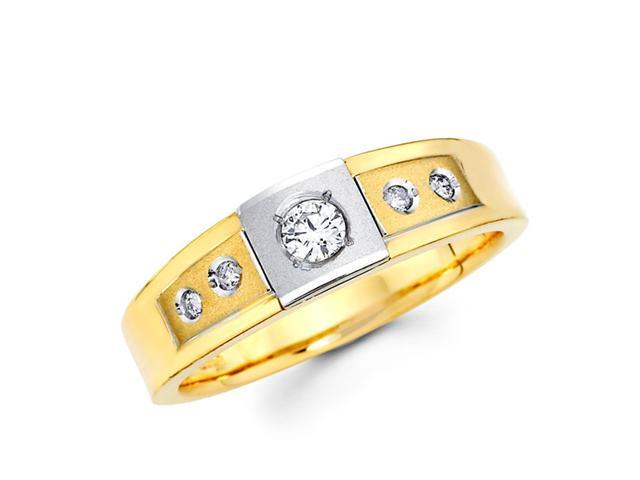 Men's Diamond Wedding Ring 14k Multi-Tone Gold Band (1/4 Carat)