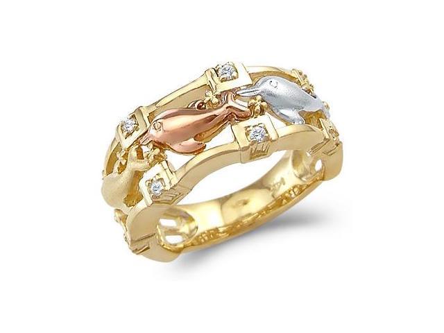 Three Dolphin Ring CZ Cubic Zirconia 14k Yellow Gold Band (1/4 Carat)