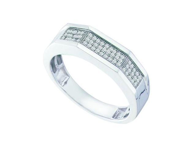 Mens Diamond Ring Wedding Band 10k White Gold Genuine (0.20 Carat)
