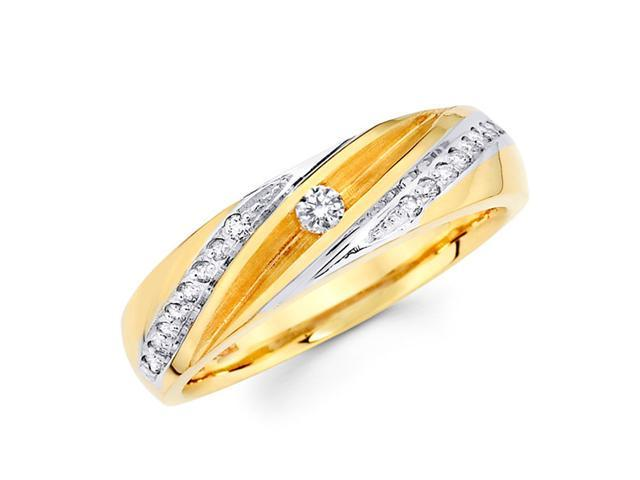 Men's Diamond Wedding Ring 14k Multi-Tone Gold Band (1/5 Carat)