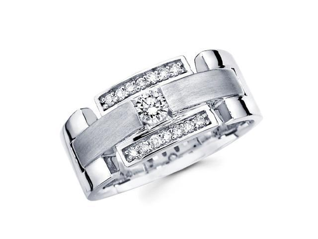 Mens Diamond Wedding Band 14k White Gold Engagement Ring (0.41 Carat)