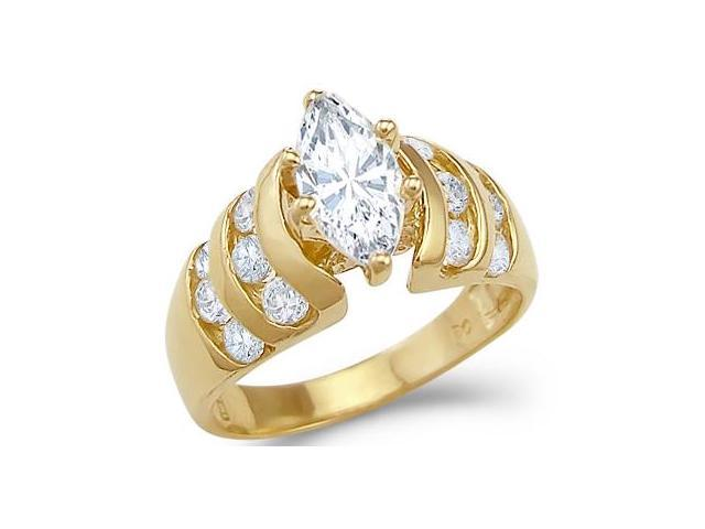 CZ Marquise Engagement Ring 14k Yellow Gold Cubic Zirconia 1.75 Carat