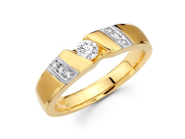 Men's Diamond Wedding Ring 14k Multi-Tone Gold Band (1/3 Carat)