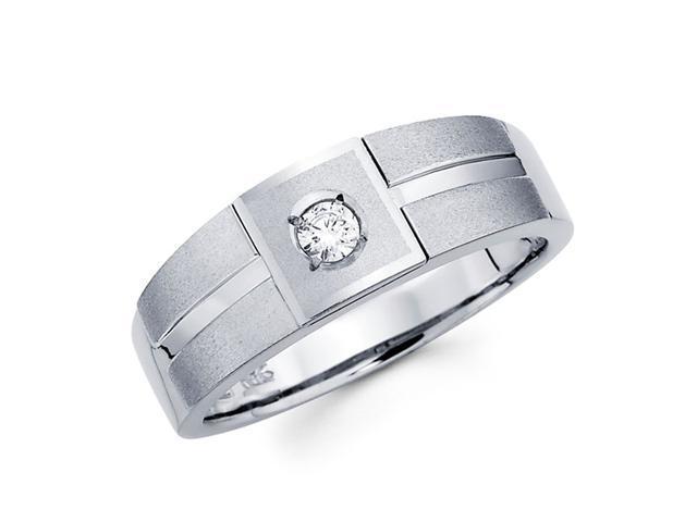 Men's Diamond Wedding Ring 14k White Gold Band (1/10 Carat)
