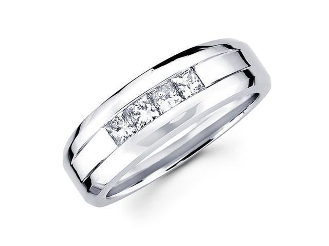 Channel Princess Diamond Wedding Ring 14k White Gold Band (5/8 Carat)