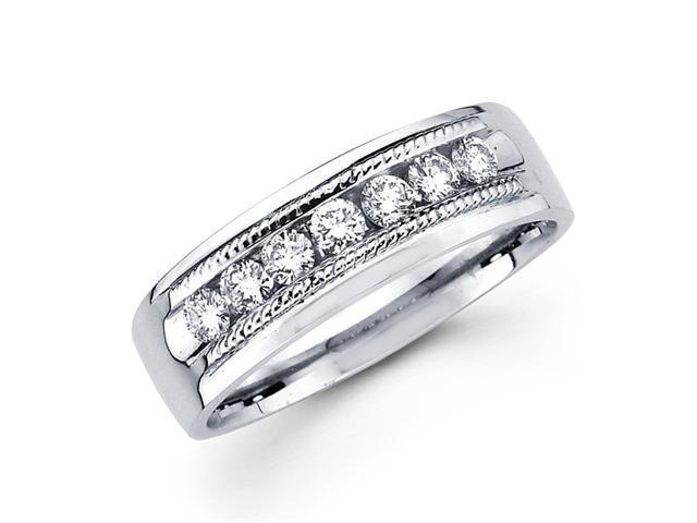 Mens Diamond Wedding Band 14k White Gold Milgrain Ring (1/2 Carat)