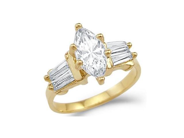 Marquise CZ Cubic Zirconia Womens Engagement Ring 14k Yellow Gold