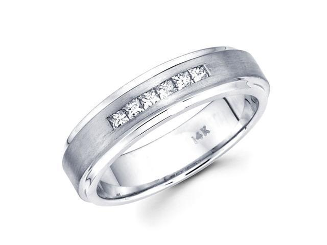 Mens Princess Diamond Wedding Band 14k White Gold Ring (1/3 Carat)