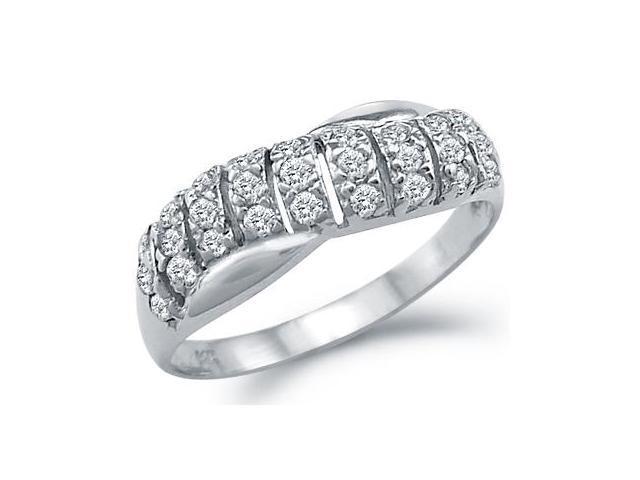 CZ Wedding Ring 14k White Gold Anniversary Band Cubic Zirconia (1/2ct)
