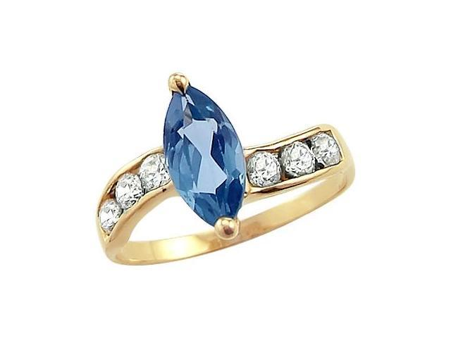 Aquamarine Engagement Ring Marquise 14k Yellow Gold CZ Cubic Zirconia