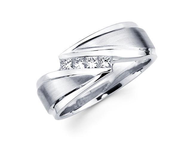 Mens Princess Diamond Wedding Band 14k White Gold Ring (1/3 Carat)