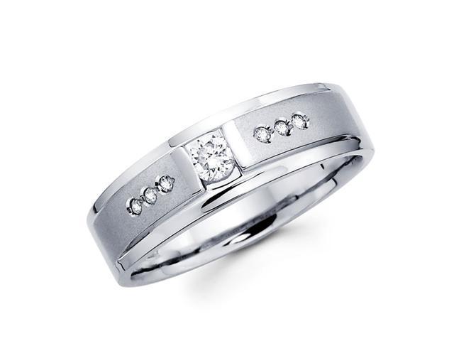 Men's Diamond Wedding Ring 14k White Gold Band (1/4 Carat)