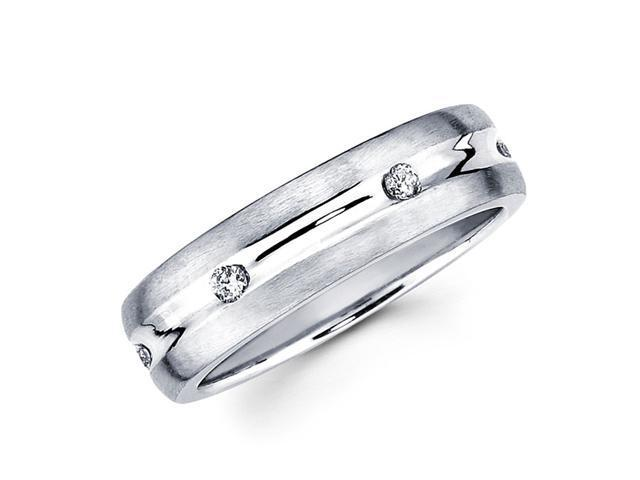 Mens Diamond Wedding Band 14k White Gold Anniversary Ring (0.16 Carat)