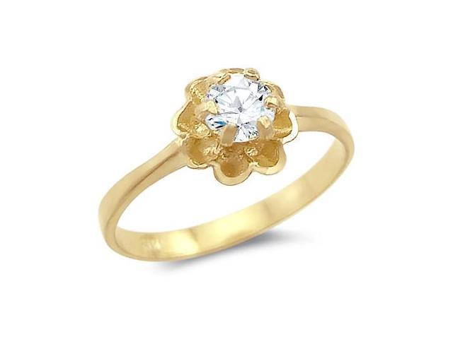 CZ Solitaire Flower Ring 14k Yellow Gold Cubic Zirconia Anniversary
