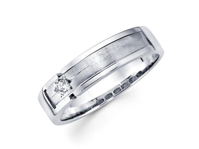 Mens Solitaire Diamond Wedding Band 14k White Gold Ring (0.05 Carat)