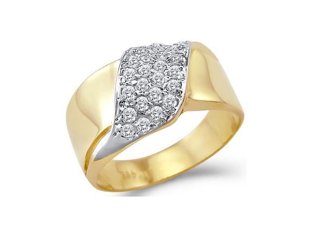 CZ Anniversary Band 14k Yellow Gold Fashion Ring Cubic Zirconia 1/2 CT