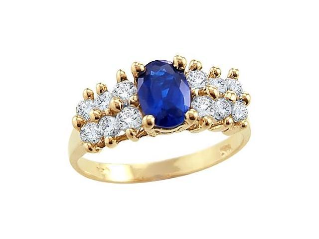 Blue Sapphire Engagement Ring 14k Yellow Gold CZ Cubic Zirconia