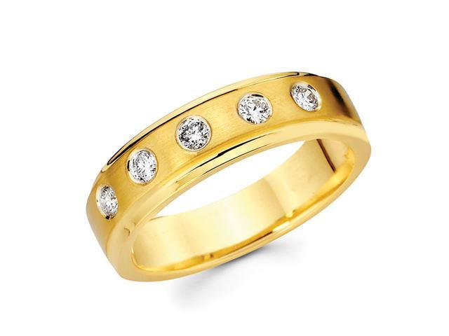 Mens Diamond Wedding Band 14k Yellow Gold Anniversary Ring (1/3 Carat)