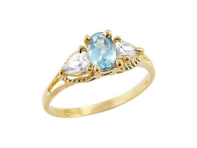 Blue CZ Engagement Ring 3 Stone 14k Yellow Gold Oval Cubic Zirconia