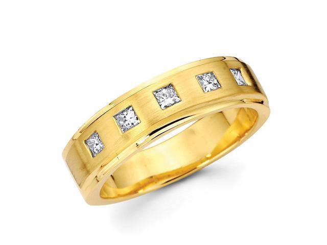 Mens Princess Diamond Wedding Band 14k Yellow Gold Ring (0.40 Carat)