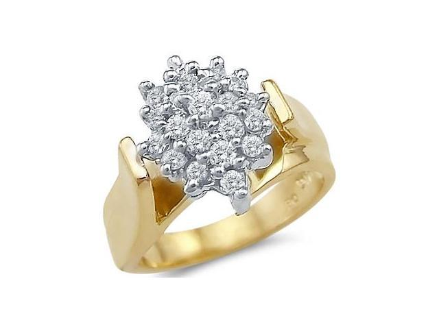 Cluster Ring Anniversary CZ Cubic Zirconia 14k Yellow Gold (1.50 CTW)