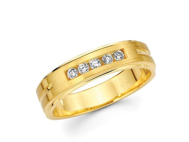 Mens Diamond Wedding Band 14k Yellow Gold Anniversary Ring (1/5 Carat)