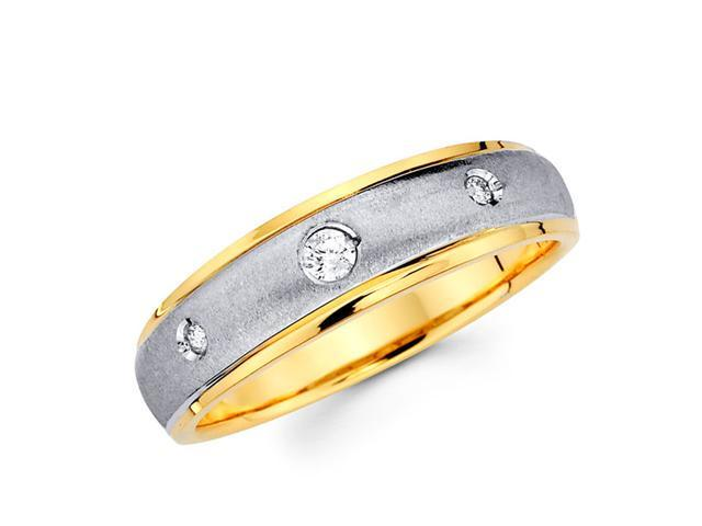 Men's Diamond Wedding Ring 14k Multi-Tone Gold Band (1/10 Carat)