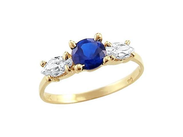 Three Stone Ring Blue CZ 14k Yellow Gold Cubic Zirconia
