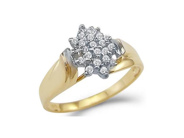 CZ Fashion Cluster Ring 14k Yellow Gold Bridal Cubic Zirconia 1.00 CT