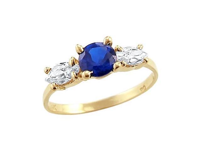 Three Stone Ring Blue CZ 14k Yellow Gold Cubic Zirconia