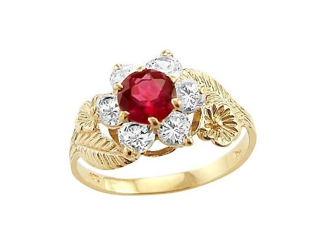 Flower Red Pink CZ Fashion Ring 14k Yellow Gold Cubic Zirconia