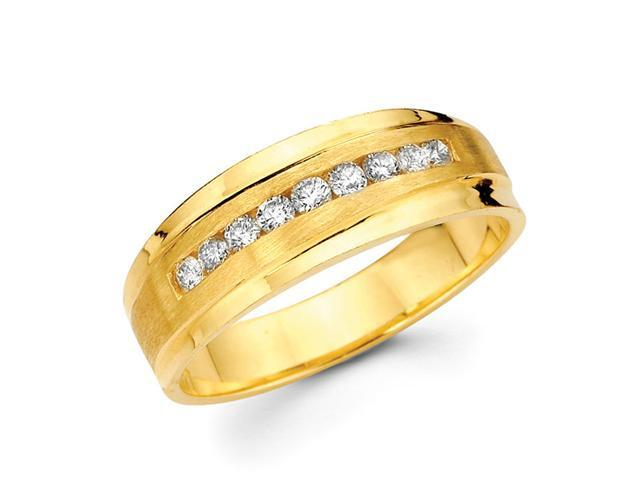 Mens Channel Set Diamond Wedding Band 14k Yellow Gold Ring (0.40 CTW)