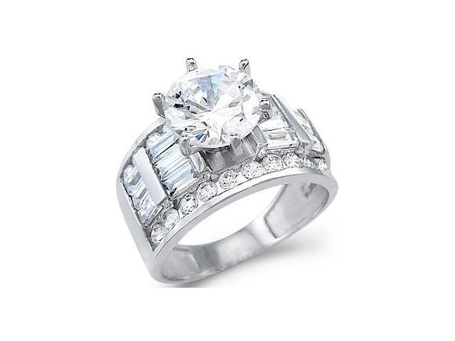 CZ Engagement Ring 14k White Gold Bridal Cubic Zirconia (4.00 Carat)