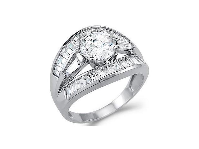CZ Anniversary Ring 14k White Gold Wedding Fashion Band (2.50 Carat)