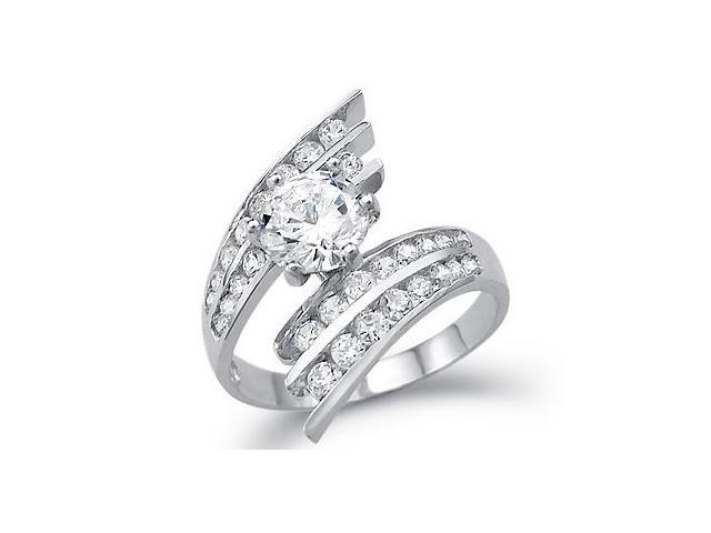 CZ Engagement Ring 14k White Gold Anniversary Cubic Zirconia (3.50 CT)