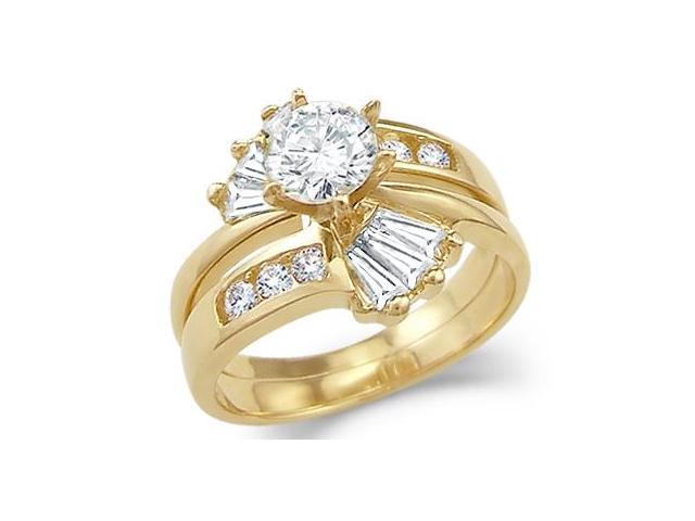 CZ Engagement Rings Set & Wedding Band 14k Yellow Gold Bridal (2 CT)