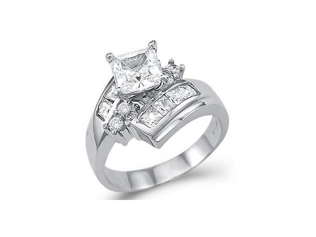 CZ Princess Engagement Ring 14k Yellow Gold Bridal Anniversary (2 CT)