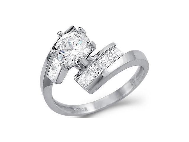 Cubic Zirconia Engagement Ring 14k White Gold CZ Bridal (2.00 Carat)