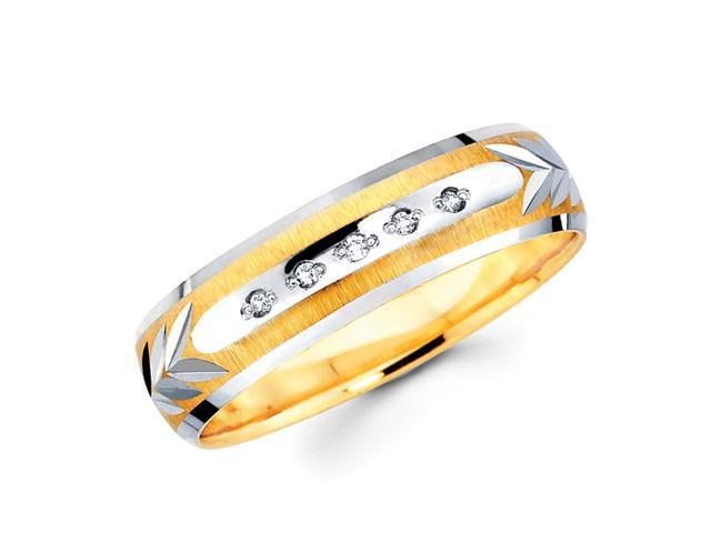 Men's Diamond Wedding Ring 14k Multi-Tone Gold Band (0.05 Carat)