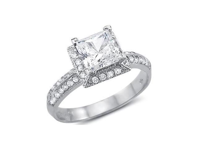 CZ Princess Engagement Ring 14k White Gold Bridal Cubic Zirconia 1.50