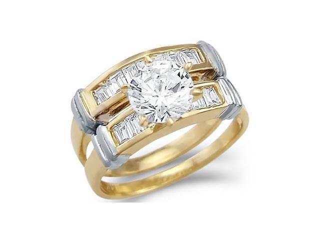 CZ Engagement Rings Set & Wedding Band 14k Yellow Gold Bridal (1.75ct)