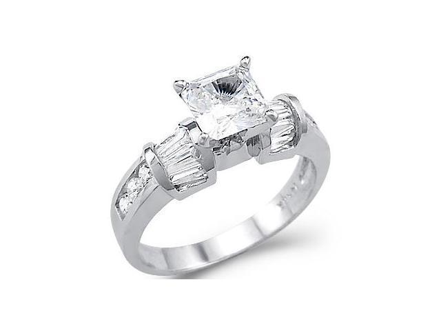 Princess Engagement Ring 14k White Gold CZ Cubic Zirconia (1.50 Carat)