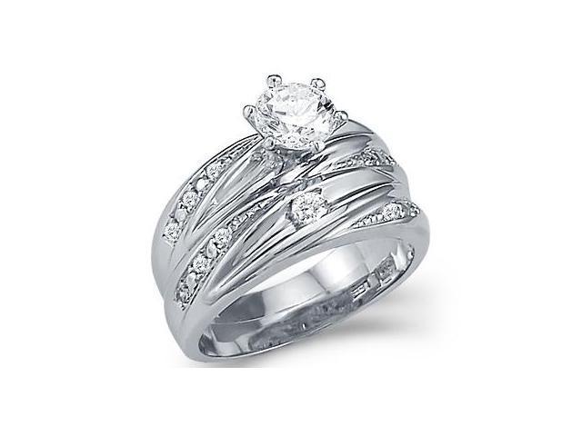 CZ Engagement Rings Bridal Wedding Set 14k White Gold (1.50 Carat)