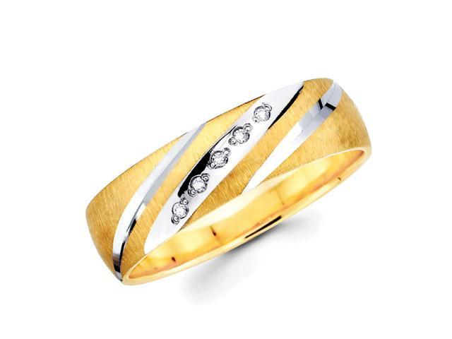 Men's Diamond Wedding Ring 14k Multi-Tone Gold Band (0.05 Carat)