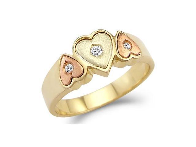 Three Hearts Ring Cubic Zirconia 14k Yellow & Rose Gold Band Women's