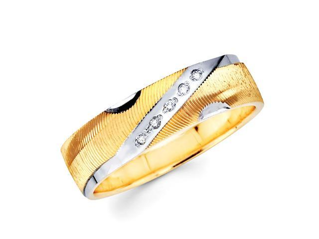Men's Diamond Wedding Band 14k Multi-Tone Gold Ring (0.05 Carat)