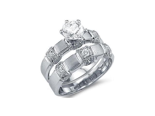 CZ Engagement Ring Wedding Set 14k White Gold Bridal (1.50 Carat)