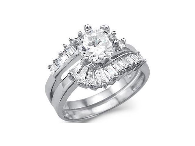 CZ Engagement Rings Wedding Set 14k White Gold Bridal (3.00 Carat)