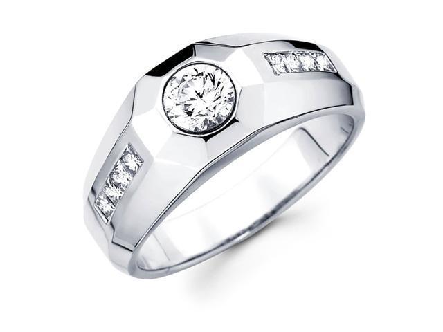 Semi Mount Mens Round Solitaire Diamond Ring 14k White Gold (0.45 CTW)